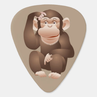 Cute animated monkey guitar pick