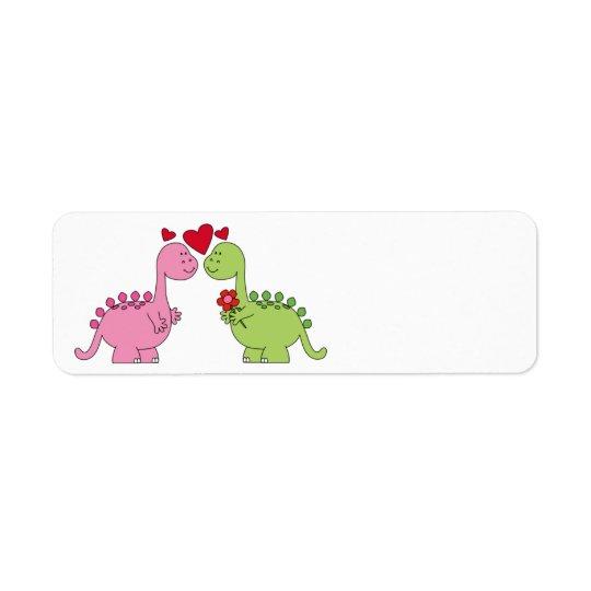 Cute animated Valentine's Day Dinosaurs Return Address Label