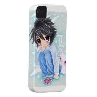 Cute anime boy with lollipop and kawaii bunny Case-Mate iPhone 4 case