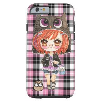 Cute anime chibi girl in kawaii owl hoodie tough iPhone 6 case