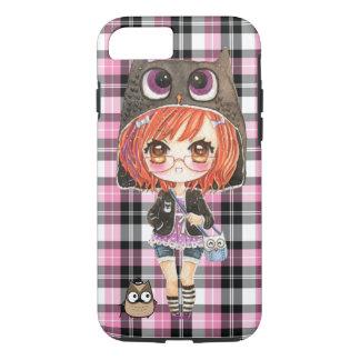 Cute anime chibi girl in kawaii owl hoodie iPhone 7 case