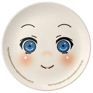 Cute Anime Face Porcelain Plates