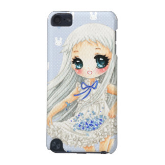 Cute anime girl with blue flowers iPod touch (5th generation) case
