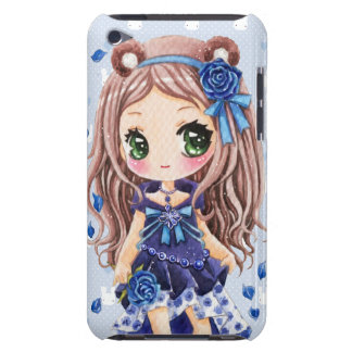 Cute anime girl with blue roses barely there iPod cover