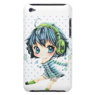Cute anime girl with green headphone iPod Case-Mate cases