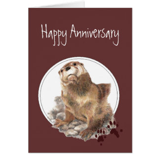 Cute Anniversary Otter for Spouse Card
