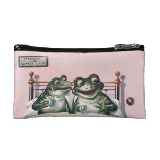 Cute Anthropomorphic Frogs by Ellam; Vintage Art Cosmetic Bag