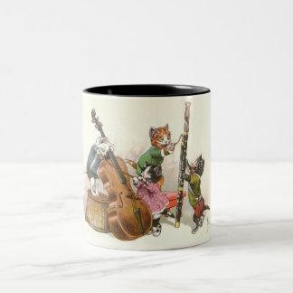 Cute Anthropomorphic Kittens Playing Music Two-Tone Coffee Mug
