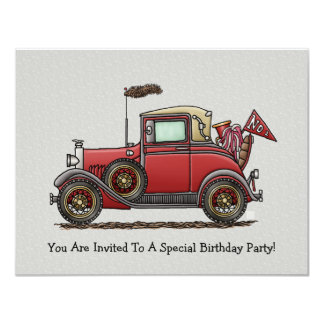Cute Antique Car 11 Cm X 14 Cm Invitation Card
