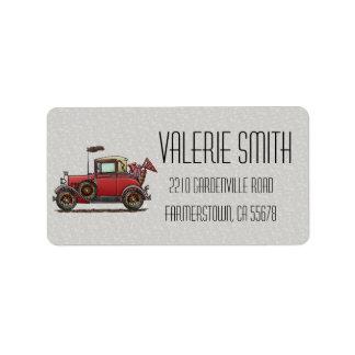 Cute Antique Car Address Label