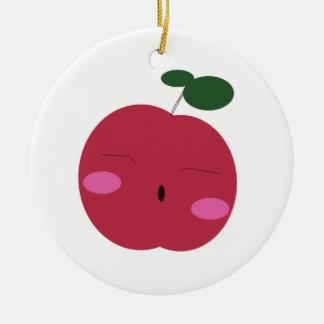 🍎Cute Apple ~ かわいいりんご. Round Ceramic Decoration