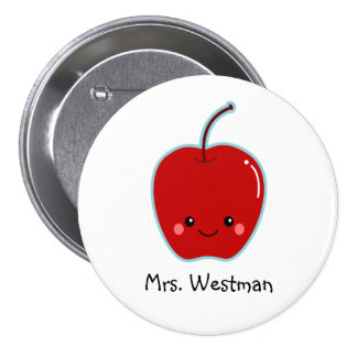 Cute Apple Personalized for Teacher 7.5 Cm Round Badge