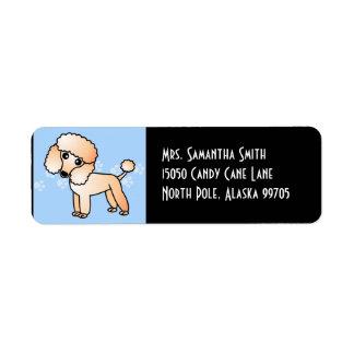 Cute Apricot  Poodle Cartoon Blue Return Address Label