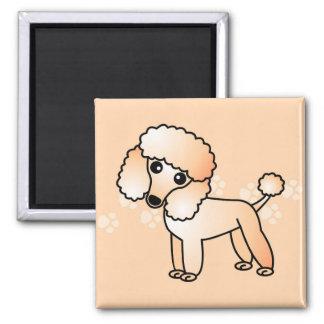 Cute Apricot  Poodle Cartoon Square Magnet