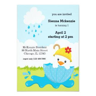 Cute April Showers 13 Cm X 18 Cm Invitation Card