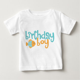Cute Aqua and Orange Fish Birthday Boy Baby T-Shirt