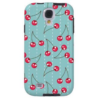 Cute Aqua Blue And Red Cherries Pattern Galaxy S4 Case