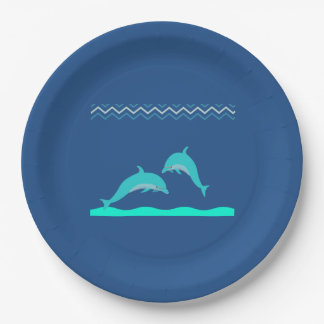 Cute Aqua Blue Dolphin Water Baby Shower 9 Inch Paper Plate