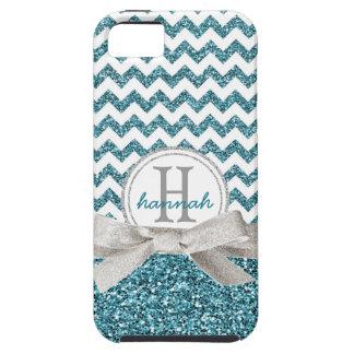 Cute Aqua Chevron Monogram  Faux Glitter Ribbon iPhone 5 Case