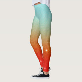 Cute Aqua Graduating to Red/Orange >Girly Leggings