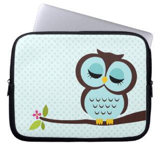 Cute Aqua Owl Laptop Sleeve