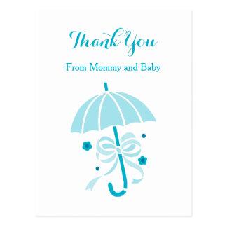 Cute Aqua Umbrella and Bow Baby Shower Thank You Postcard