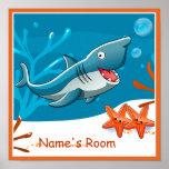 Cute Aquatic Shark Custom Kids Room Poster Poster