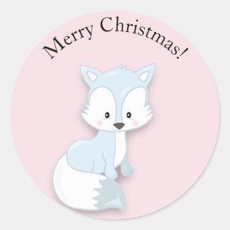Cute Arctic Fox on Pink Merry Christmas Sticker