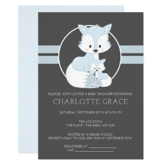 Cute Arctic Fox Personalised Baby Shower Card