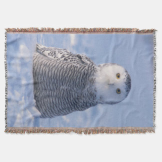 Cute Arctic Snowy Owl Photo Designed Woven Throw Blanket