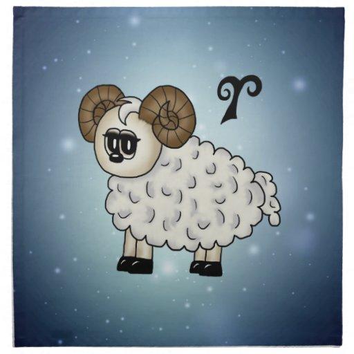 cute Aries Zodiac Cloth Napkins