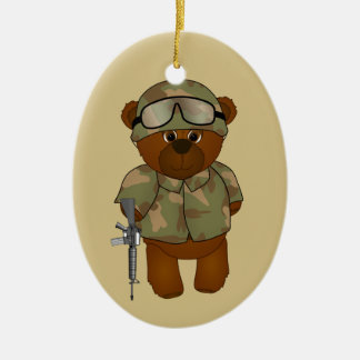 Cute Armed Forces Teddy Bear Military Mascot Ceramic Ornament