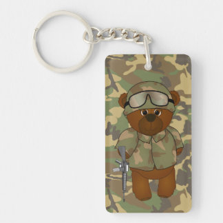 Cute Armed Forces Teddy Bear Military Mascot Key Ring