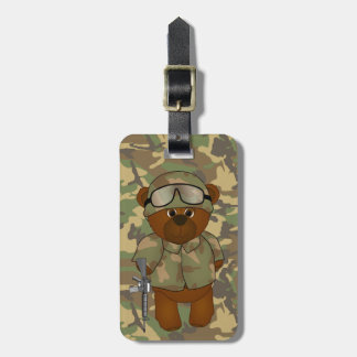 Cute Armed Forces Teddy Bear Military Mascot Luggage Tag