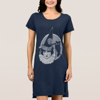 Cute Art Deco Witch Full Moon Owl Jack O Lantern Dress