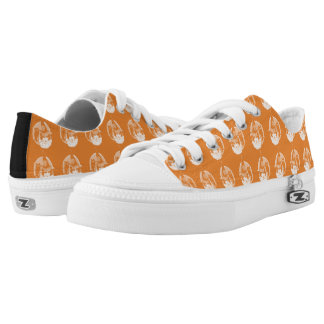 Cute Art Deco Witch Full Moon Owl Jack O Lantern Low Tops
