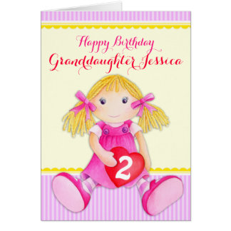 Cute art granddaughter rag doll age birthday card