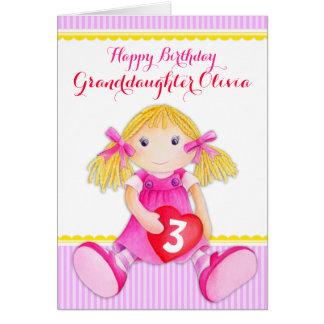 Cute art granddaughter rag doll age birthday card