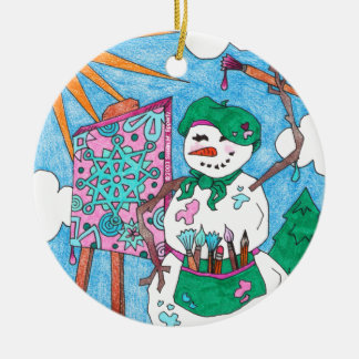 Cute Artist Snowman Holiday Christmas Round Ceramic Decoration
