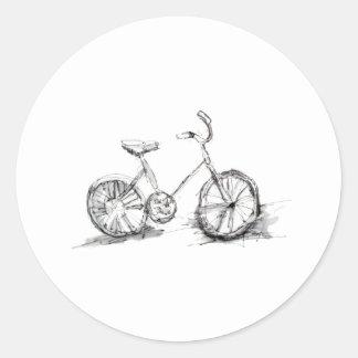 Cute Artistic Bike Drawing Round Stickers