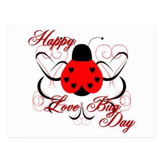 Cute Artsy Love Bug Heart Ladybug Postcard