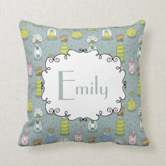 Cute Artsy Mason Jar Paintbrush Flowers Monogram Throw Pillow
