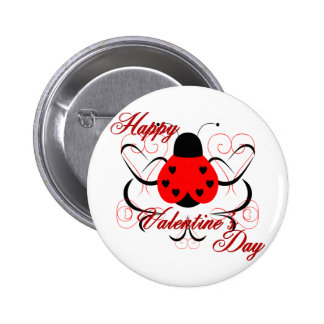 Cute Artsy Valentine Heart Ladybug Button