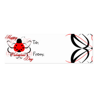 Cute Artsy Valentine Heart Ladybug Gift Tag Business Card Templates