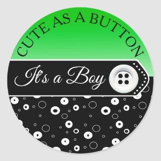 Cute as a Button Baby Carriage Baby Shower Sticker