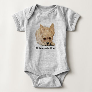 Cute as a button Chihuahua by Carol Zeock Baby Bodysuit