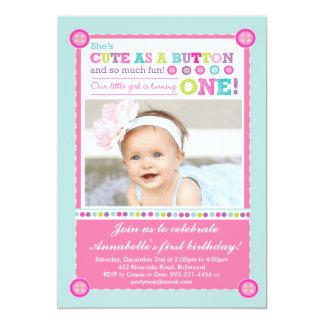 Cute as a Button First Birthday (Photo) 13 Cm X 18 Cm Invitation Card