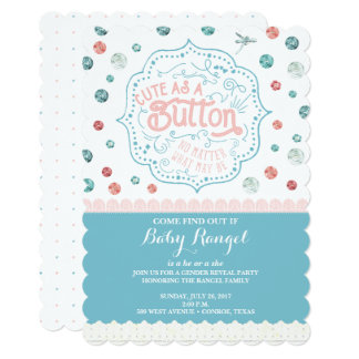 Cute as a Button Gender Reveal Party Invitation
