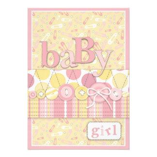 Cute as a Button Girl Invitation Card