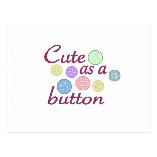 Cute as a button (girl) post cards